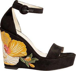 Read more about Karen millen embroidered wedge heel sandals black