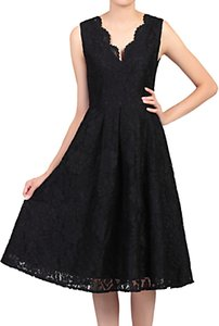 Read more about Jolie moi scalloped v-neck lace prom dress black
