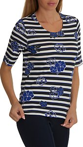 Read more about Betty barclay floral stripe print top dark blue cream