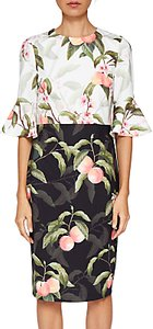 Read more about Ted baker areea ruffle cuffs peach blossom print dress black white
