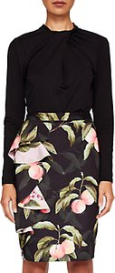Read more about Ted baker blayyke peach blossom ruffle midi skirt black