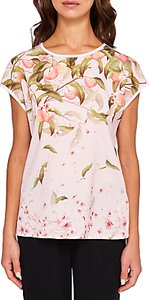 Read more about Ted baker roozie peach blossom woven front t-shirt light pink