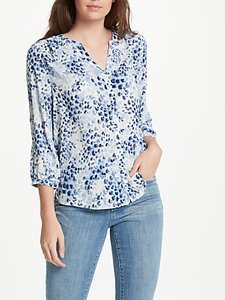 Read more about Nydj snow cat print pin tuck blouse blue