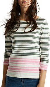 Read more about Joules harbour block stripe 3 4 sleeve jersey top laurel pink stripe