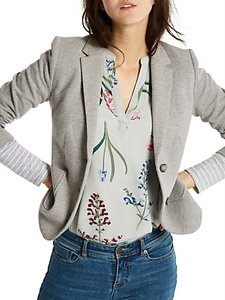 Read more about Joules ellice herringbone jersey blazer grey marl