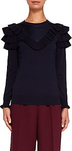 Read more about Ted baker hellgar satin contrast ruffle jumper blue