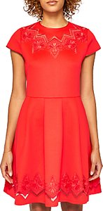 Read more about Ted baker cheskka lace and mesh detail skater dress bright red