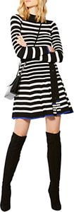 Read more about Karen millen knitted striped skater dress multi