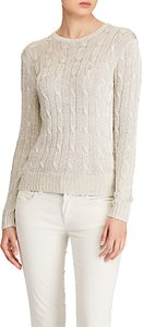Read more about Polo ralph lauren cotton metallic long sleeve jumper taupe