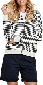 Read more about Barbour zip stripe cotton sweatshirt navy white