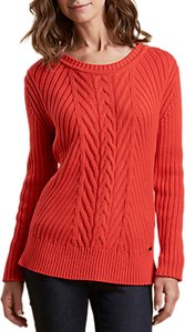 Read more about Barbour deerness cable knit jumper orange