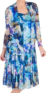 Read more about Chesca floral print mesh dress and bolero blue multi