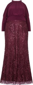 Read more about Adrianna papell plus size long sequin blouson dress cabernet