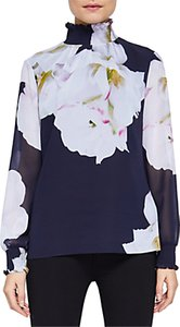 Read more about Ted baker gardenia high neck blouse dark blue