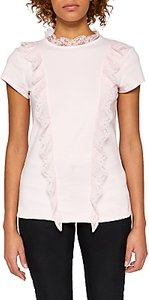 Read more about Ted baker tuloula pleated lace high neck top pale pink