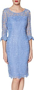 Read more about Gina bacconi benita embroidered mesh dress china blue