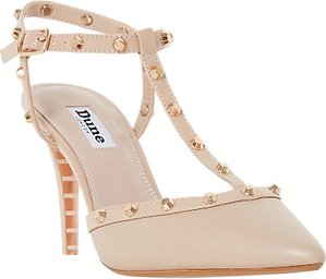 Read more about Dune catelyn studded t-bar court shoes nude leather