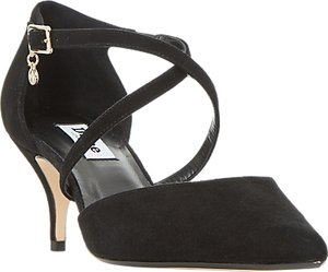 Read more about Dune courtnee cross strap kitten heel court shoes black suede