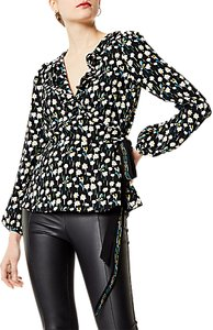 Read more about Karen millen floral print wrap blouse black multi