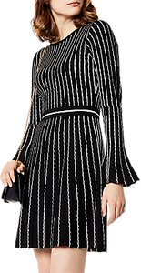 Read more about Karen millen stripe knitted dress black ivory