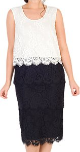 Read more about Chesca scallop trim tiered lace dress black white