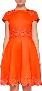 Read more about Ted baker rehanna embroidered skater dress orange