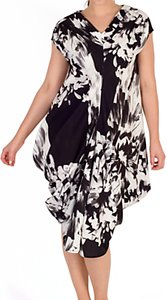 Read more about Chesca floral drape midi dress black white