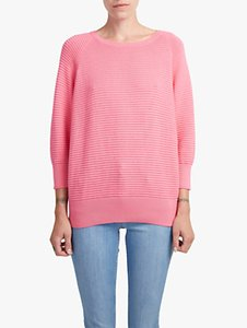 Read more about French connection cotton crew neck textured jumper keywest coral