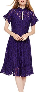 Read more about Damsel in a dress fluted hem lace overlay dress bright purple
