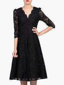 Read more about Jolie moi puff shoulder v-neck lace dress black