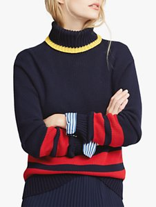 Read more about Polo ralph lauren double stripe colour block jumper navy red gold