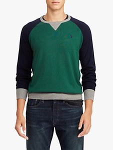 Read more about Polo ralph lauren regular fit colour block jumper forest green navy grey heather
