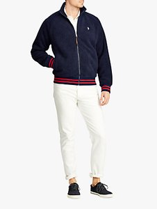 Read more about Polo ralph lauren faux sherpa baseball jacket cruise navy