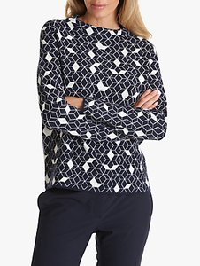 Read more about Betty co geometric 3d knitted jumper dark blue white