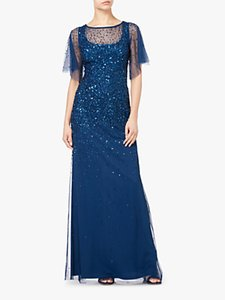 Read more about Adrianna papell tulle overlay sequin maxi dress blue