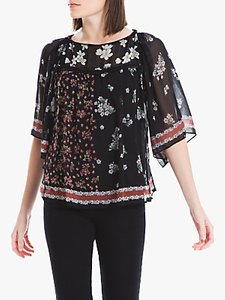 Read more about Max studio floral print wide sleeve blouse black