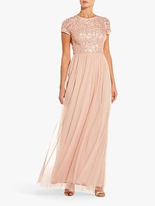 Read more about Adrianna papell sequin tulle maxi dress blush