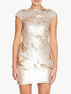 Read more about Adrianna papell sequin mini dress champagne gold
