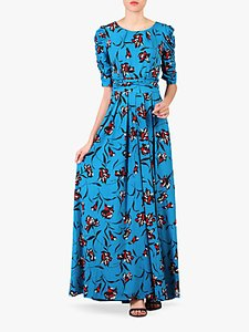Read more about Jolie moi floral print ruched sleeve maxi dress blue