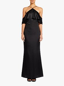 Read more about Adrianna papell cold shoulder frill satin dress black