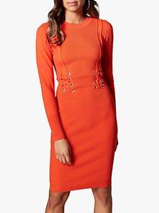 Read more about Karen millen corset bodycon knitted dress orange