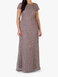 Read more about Chesca short sleeve sequin maxi dress stone