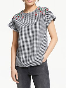 Read more about Armedangels lioraa gingham embroidered top black