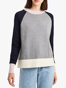 Read more about French connection colour block sleeve jumper grey navy pink cream