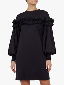 Read more about Ted baker andaa ruffle detail bishop sleeve dress navy