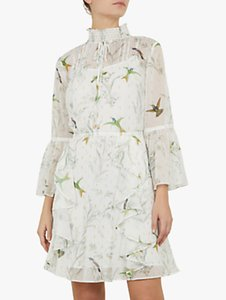 Read more about Ted baker andray bird print ruffle dress mint green