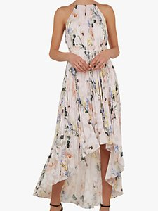 Read more about Ted baker valetia dip hem floral pleated dress white