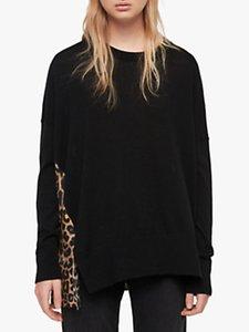 Read more about Allsaints bennie oversized merino leopard print jumper black