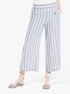 Read more about Max studio wide leg stripe linen blend trousers blue off white
