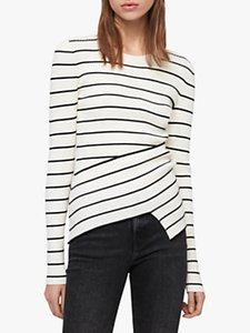 Read more about Allsaints amara stripe jumper chalk white black